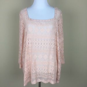 Lucky Brand Peach Lace Top, XL